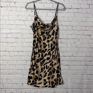 Boohoo Leopard Cowl Neck Mini Dress